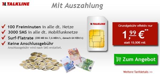 talklinetalkeasy Telekom / Talkline Talk Easy (100 Freiminuten, SMS Flat + 200MB Daten) für 1,99€/Monat