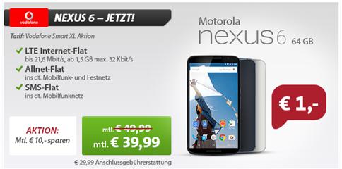 image Vorbestellbar: Vodafone XL (Alle Flats – 1,5GB Datenflat) inkl. Nexus 6 (64GB für 1€) für 39,99€/Monat
