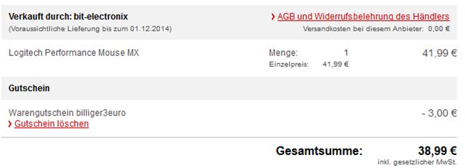 image thumb Logitech Performance Mouse MX für 38,99€ inklusive Versand