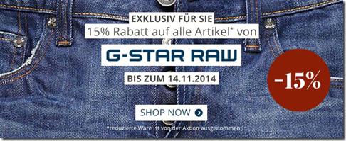 image135 Engelhorn: 15% Rabatt auf alle nicht reduzierten G Star Raw Artikel + 10€ Newsletter Rabatt (ab 60€ MBW)