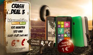 image156 Vodafone Klarmobil (100 Freiminuten, 100 Frei SMS + 400MB Daten) inkl. gratis Nokia Lumia 530 für 6,95€/Monat