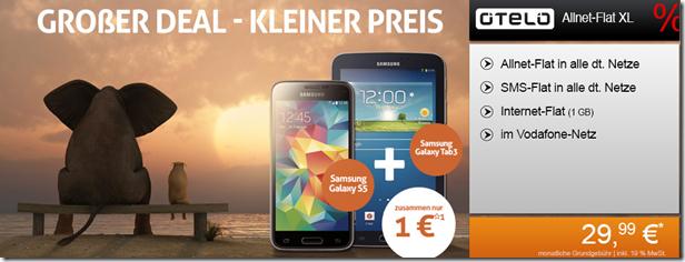 image185 OTELO XL (Telefon  und SMS Flat in alle Netze + 1GB Datenflat) inkl. gratis Samsung S5 + Samsung Tab für 29,99€/Monat