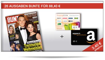 image187 [Knaller] 26 Ausgaben Bunte für 3,40€ anstatt 88,40€