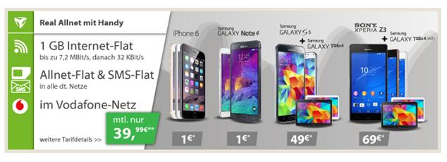 image243 Vodafone (Flat alle Netze, SMS Flat alle Netze, 1GB Datenflat) inkl. z.B. gratis iPhone 6 für 39,99€/Monat