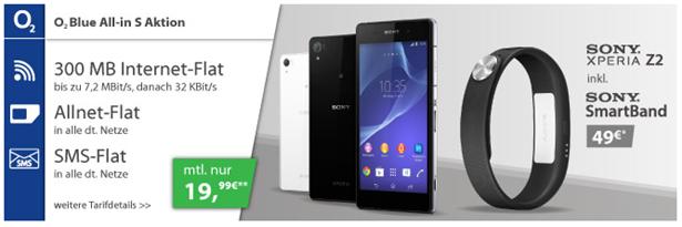 image384 o2 Blue All in S (Flat in alle Netze, SMS Flat, Surfflat 300 MB, Festnetznummer) inkl. Sony Xperia Z2 + Sony SmartBand (einmalig 49€) für 19,99€/Monat