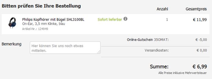 image thumb66 Philips Kopfhörer SHL3100BL ab 6,99€ (Vergleich: 24,77€)