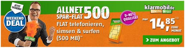 image thumb82 Klarmobil Allnet Spar Flat im Telekom Netz (500 MB Datenflat, Flat in alle Netze, SMS Flat) für 14,85€/Monat