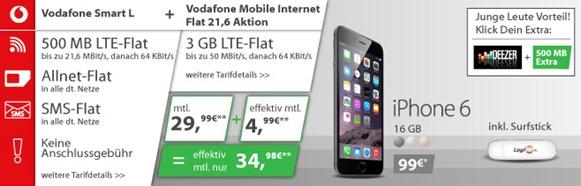 vodafone smart l mif216 6 Vodafone Smart L (Sprach, SMS + Datenflat) + extra 3GB LTE Datenflat inkl. iPhone 6 und Surfstick (einmalig 99€) für 34,98€/Monat