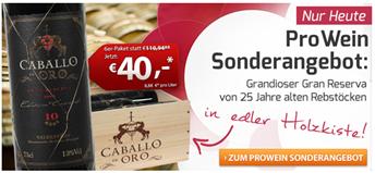 Bild zu Weinvorteil: 6 Flaschen Caballo d'Oro – Valdepeñas DO Gran Reserva in Holzkiste für 46,50€