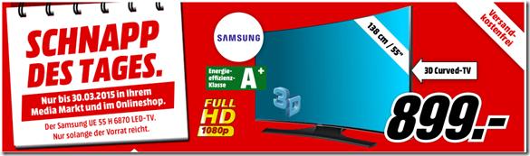 Bild zu Samsung UE55H6870 138 cm (55 Zoll) Curved 3D LED-Backlight-Fernseher für 899€