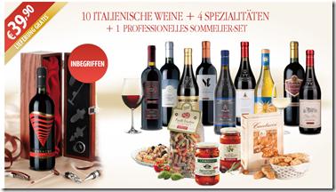 Bild zu Weinpaket mit 10 italienischen Weinen, 4 Spezialitäten und einem Sommelierset für 39,90 Euro inkl. Versand
