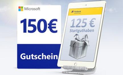Bild zu [letzte Chance – bis 15 Uhr] Postbank Girokonto eröffnen und einen 150€ Microsoft Gutschein oder 125€ Startguthaben erhalten