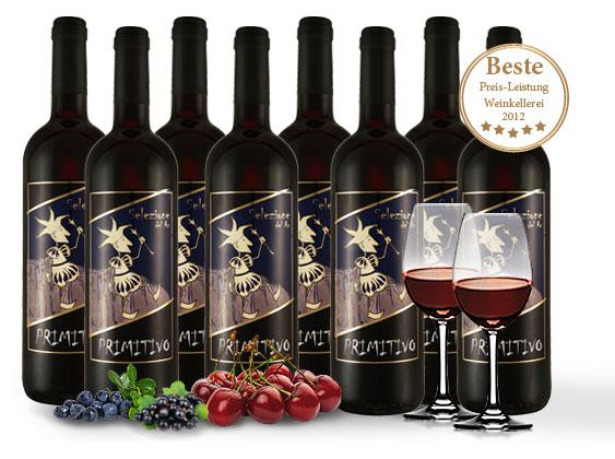 Bild zu 8 Flaschen Primitivo Selezione del Re + 2 Spiegelau Rotwein-Gläser für 39,90€ inkl. Versand