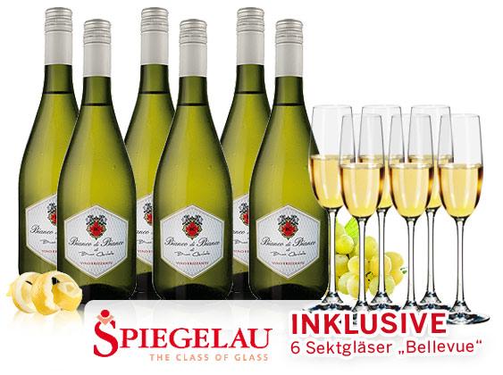 Bild zu 6 Flaschen Bianco di Bianco Frizzante + Spiegelau Sektgläser für 29,90€ inkl. Versand