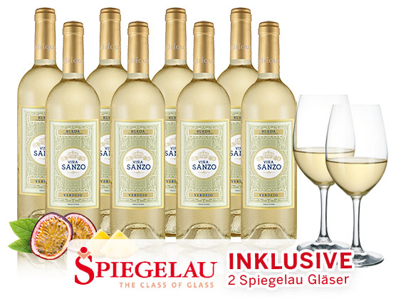 Bild zu 8 Flaschen Viña Sanzo Clásico + 2 Spiegelau Weißwein-Gläser für 39,90€ inkl. Versand