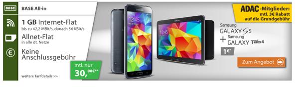 Bild zu Base Tarif (1GB Datenflat, Sprach- und SMS Flat usw.) inkl. gratis Samsung S5 + Tab 4 ab 27€/Monat