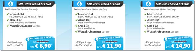 Bild zu [Top] Allnet Flats im Telekomnetz (mit 250MB, 500MB oder 1GB Datenflat) ab 6,90€ im Monat.