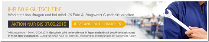 Bild zu KFZ Werkstatt über eBay beauftragen (mind. 75€) und 50€ eBay Gutschein erhalten