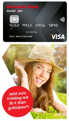 Bild zu GenialCard Visa Karte mit 30€ Gutschrift – gebührenfrei und mit Sofortentscheidung