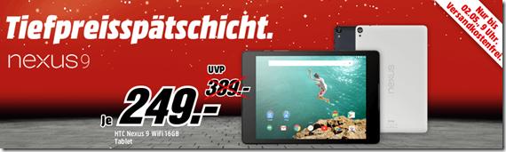 Bild zu HTC Nexus 9 (8,9 Zoll) Tablet-PC (WiFi, 16GB interner Speicher, Android 5.0) für 249€