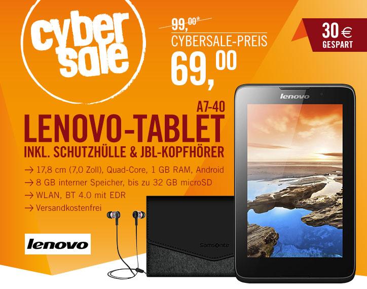 Bild zu 7 Zoll IPS Tablet Lenovo A7-40 + Samsonite Schutzhülle + JBL Kopfhörer für 69€ inkl. Versand