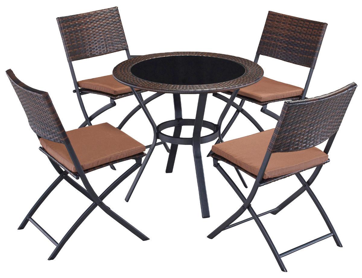 Bild zu Garten-Sitzgruppe Andorra aus Stahl/PolyRattan für 89,99€ inklusive Versand