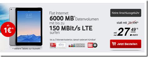 Bild zu Apple iPad Air 2 (16GB + Cellular) für 1€ im Vodafone 6GB LTE Tarif (bis zu 150Mbit) für 27,49€ pro Monat – auch andere Tabs möglich