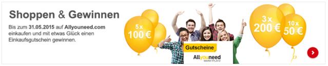 Bild zu Allyouneed.com: 5€ Rabatt ab 20€ Bestellwert + Teilnahme am Gewinnspiel