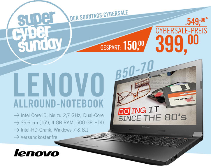Bild zu 15 Zoll Notebook Lenovo B50-70 MCC2WGE für 399€ inkl. Versand