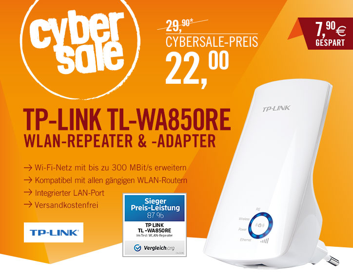Bild zu WLAN Repeater TP-Link TL-WA850RE für 22€ inkl. Versand