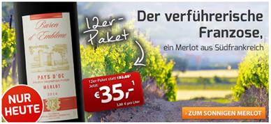 Bild zu Weinvorteil: 12 Flaschen Baron d'Emblème – Merlot – Pays d'Oc für 41,50€