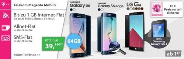 Bild zu Telekom Magenta S (500MB Datenflat, Sprach- und SMS-Flat) inkl. z.B. gratis Samsung S6 (64GB) ab 29,95€ pro Monat