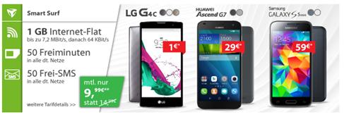 Bild zu o2 Smart Surf (1GB Datenflat, 50 Freiminuten + 50 Frei SMS) inkl. Smartphones ab 0€ für 9,99€ im Monat