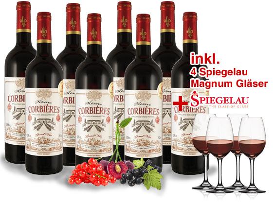 Bild zu 8 Flaschen Castan Corbières Réserve + 4 Spiegelau Magnum Weingläser für 39,99€ inklusive Versand.