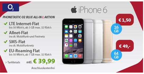 Bild zu [Top] o2 Allnet Flat mit 3GB LTE Flat, SMS Flat, Festnetznummer sowie EU Flat inkl. iPhone 6 oder Samsung S6 für 39,99€/Monat