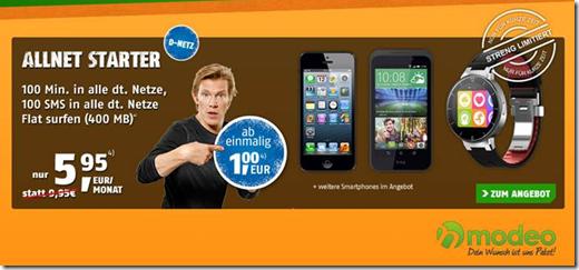 Bild zu [Top] Vodafone Netz mit 100 Freiminuten, 100 Frei SMS + 400MB Datenflat inkl. Smartphone ab 1€ für 5,95€ pro Monat