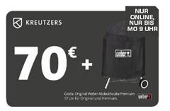 Bild zu KREUTZERS 70€ Fleisch- und Genussgutschein inkl. Original Weber Abdeckhaube Premium 57cm ab 40€