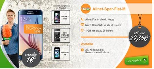 Bild zu 1GB Datenflat inkl. Sprachflat in alle Netze und Top-Smartphone ab 1€ im Telekom-Netz für 29,85€/Monat