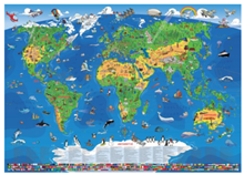 Bild zu XXXL Kinder Weltkarte (1,95m, antireflexierend laminiert, beschreib- und abwaschbar) + gratis Taschen-Atlas für 12,97€