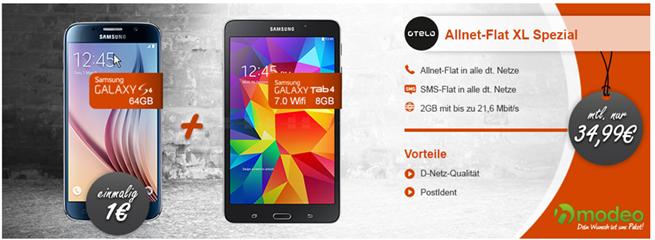 Bild zu Otelo XL (2GB Datenflat, SMS Flat & Sprachflat) inkl. Samsung S6 und Galaxy Tab 4 (beides einmalig 1€) für 34,99€/Monat