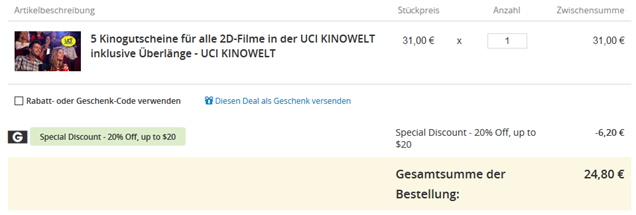 Bild zu Groupon: 5 UCI Kinotickets ab 24,80€ (4,96€/Ticket)