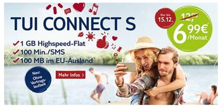 Bild zu [Top] Tui Connect Tarife, so z.B. 1GB Datenflat + 100 Frei SMS oder Minuten inkl. EU Datenflat für 6,99€/Monat – monatlich kündbar