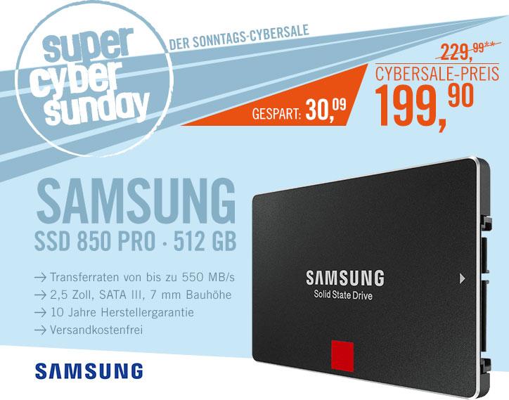 Bild zu 2,5 Zoll SSD Samsung 850 Pro Series 512 GB für 199,90€ inkl. Versand