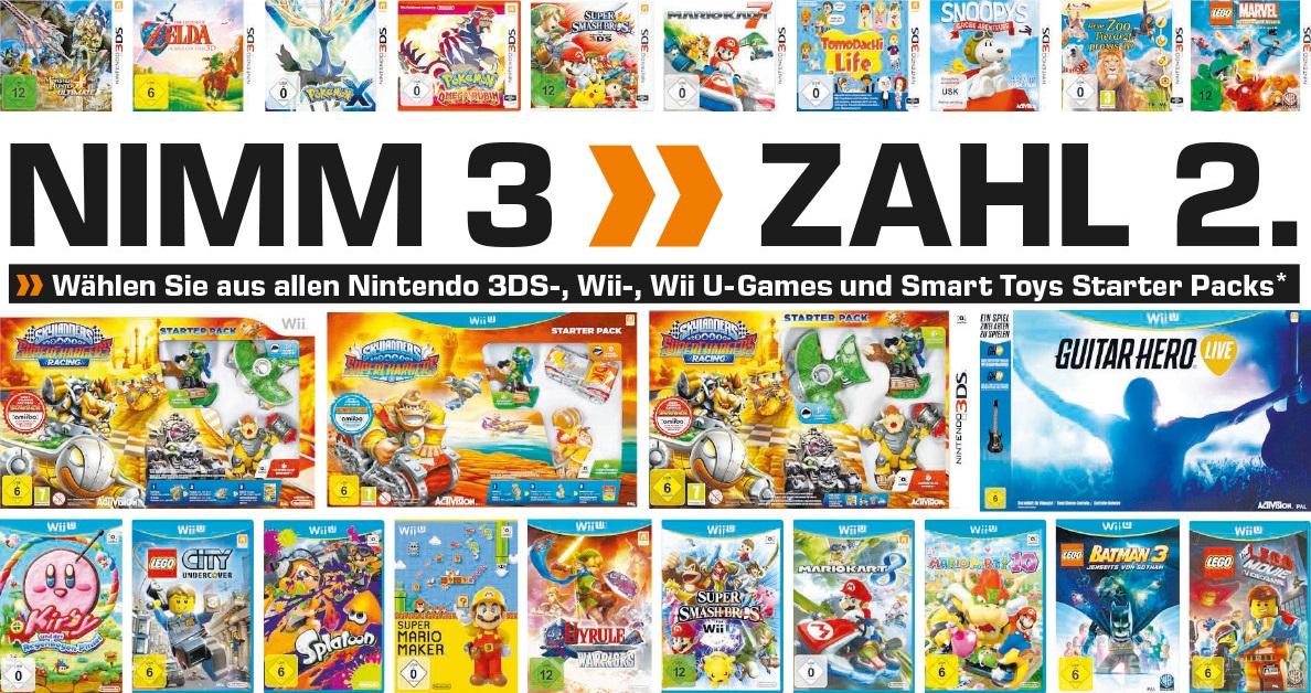 Bild zu Saturn: 3 kaufen, 2 bezahlen – Nintendo 3DS, Wii und Wii U Spiele