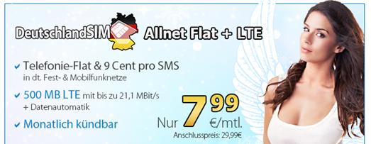 Bild zu DeutschlandSIM: Allnet Flat + 500MB LTE Datenflat im o2 Netz für 7,99€/Monat – monatlich kündbar