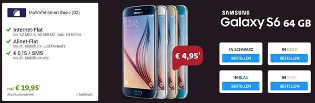 Bild zu [Knaller] Samsung S6 64GB inkl. 24 Monate Allnet Flat + 500MB Datenflat im Vodafone Netz für 483,75€ Gesamtkosten (Vergleich: 494,99€ ohne Vertrag)