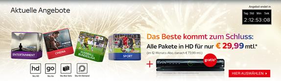 Bild zu Sky Entertainment Komplettpaket (inkl. aller 3 Pakete inkl. HD und Sky+ HD-Festplattenleihreceiver) nur 29,99€/Monat statt sonst 73,99€/Monat
