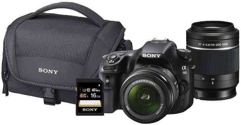 Bild zu Spiegelreflexkamera Sony Alpha 58 Kit 18-55 mm + 55-200 mm + Zubehör für 449€