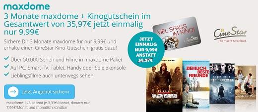 Bild zu Maxdome: 3 Monate im Probeabo + CineStar Kino Gutschein für nur 9,99€