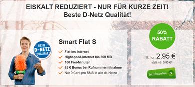 Bild zu Klarmobil Smart Flat S im Telekom-Netz (100 Freiminuten, 300MB Datenflat) für 2,95€/Monat